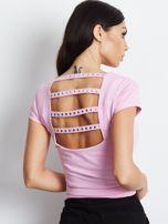 T-shirt różowy z wycięciami z tyłu                                  zdj.                                  2