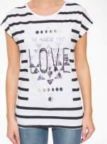 T-shirt w biało-czarne paski z napisem LOVE                                  zdj.                                  8