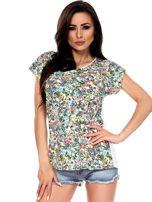 T-shirt w kolorowe drobne kwiatki                                  zdj.                                  1