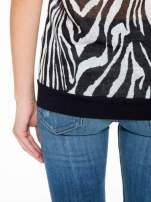 T-shirt z nadrukiem zebry i ażurowymi rękawami                                                                          zdj.                                                                         10