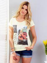 T-shirt żółty z motywem samochodu                                  zdj.                                  1