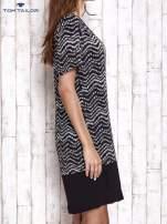 TOM TAILOR Czarna sukienka z graficznym nadrukiem