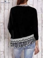 TOM TAILOR Czarny sweter o szerokim splocie z frędzlami                                  zdj.                                  4
