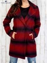 TOM TAILOR Czerwony jednorzędowy płaszcz boyfriend w kratę                                                                          zdj.                                                                         1