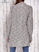 TOM TAILOR Ecru fakturowany sweter kardigan                                   zdj.                                  4