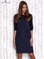 TOM TAILOR Granatowa sukienka z koronkową wstawką