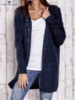 TOM TAILOR Granatowy melanżowy sweter z zapięciem na guziki                                  zdj.                                  1