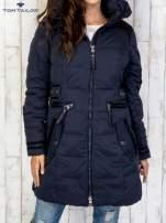 TOM TAILOR Granatowy płaszcz z futrzaną podszewką