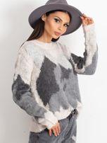 TOM TAILOR Kremowy wełniany sweter z abstrakcyjnym deseniem                                                                          zdj.                                                                         3