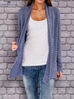 TOM TAILOR Niebieski otwarty sweter w drobne paski                                  zdj.                                  1