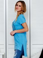 Tunika bawełniana niebieska z okrągłym nadrukiem                                  zdj.                                  5