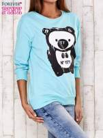 Turkusowa bluza z nadrukiem pandy                                                                          zdj.                                                                         3