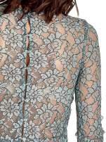 Turkusowa bluzka koszulowa z koronki ze skórzanymi mankietami                                  zdj.                                  7