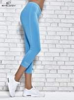 Turkusowe legginsy sportowe z patką z dżetów na dole