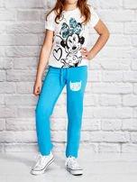 Turkusowe spodnie dresowe dla dziewczynki z napisem FOLLOW MY FEET                                  zdj.                                  4