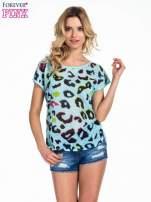 Turkusowy panterkowy t-shirt z koronkowym tyłem                                  zdj.                                  1