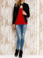VERO MODA Czerwony top damski z koronkowym dekoltem                                                                          zdj.                                                                         2