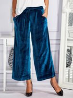 Welurowe spodnie flare z troczkami turkusowe                                  zdj.                                  1