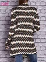Wielokolorowy otwarty sweter w szlaczki o prostym kroju                                   zdj.                                  4