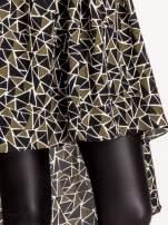 Wzorzysta sukienka mgiełka ze skórzanymi wstawkami                                                                          zdj.                                                                         6