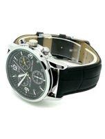 ZEMGE Zegarek unisex czarny na skórzanym czarnym pasku Eleganckie pudełko prezentowe w komplecie                                  zdj.                                  3