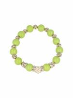 Zielona Bransoletka koralikowa z kulką schamballa                                  zdj.                                  2