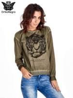 Zielona bluza z nadrukiem tygrysa i dżetami                                  zdj.                                  1