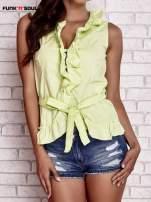 Zielona koszula z wiązaniem i falbankami FUNK N SOUL                                                                          zdj.                                                                         1
