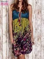 Czarna kwiatowa sukienka z kolorowymi troczkami                                                                          zdj.                                                                         1