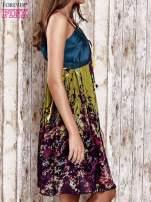 Zielona kwiatowa sukienka z kolorowymi troczkami                                  zdj.                                  3