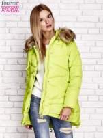 Zielona ocieplana kurtka z guzikami i suwakami                                  zdj.                                  5