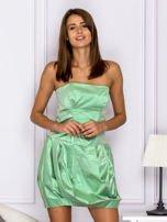 Zielona sukienka bombka z połyskiem                                  zdj.                                  1