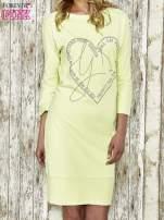 Zielona sukienka dresowa z sercem z dżetów                                  zdj.                                  1