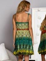 Zielona sukienka dzienna na ramiączka w stylu etno                                  zdj.                                  3