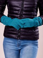 Zielone długie rękawiczki z marszczonym ściągaczem                                   zdj.                                  3