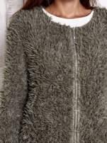 Zielony futrzany sweter kurtka na suwak                                  zdj.                                  7