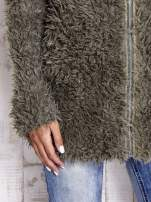 Zielony futrzany sweter kurtka na suwak                                  zdj.                                  8