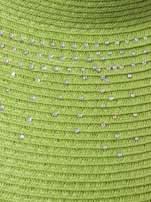 Zielony kapelusz słomiany z dużym rondem i kryształkami                                  zdj.                                  6
