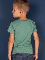 Zielony t-shirt dla chłopca z nadrukiem                                  zdj.                                  5