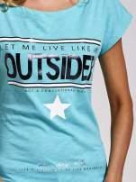 Zielony t-shirt z napisem OUTSIDER                                  zdj.                                  5