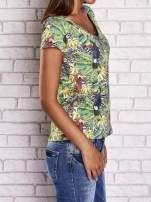 Zielony t-shirt z ptakami i egzotycznym nadrukiem dżungli                                  zdj.                                  3