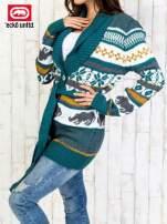 Zielony wzorzysty sweter na guziki                                  zdj.                                  4