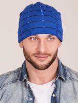 Zimowa męska czapka z dzianiny niebieska                                  zdj.                                  1