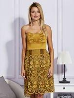 Złota sukienka z koronkową spódnicą                                  zdj.                                  1