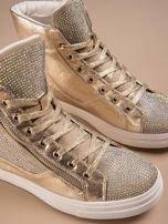 Złote płaskie sneakersy damskie z kryształkami                                                                          zdj.                                                                         1