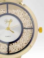 Złoty zegarek damski na bransolecie z białą cyrkoniową tarczą                                  zdj.                                  6