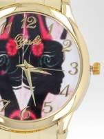 Złoty zegarek damski na bransolecie z motywem gejszy