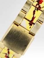 Złoty zegarek damski na bransolecie z motywem roślinnym                                  zdj.                                  4