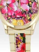 Złoty zegarek damski na bransolecie z różowym motywem kwiatowym                                  zdj.                                  5