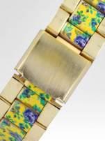 Złoty zegarek damski na bransolecie z żółtym motywem kwiatowym                                  zdj.                                  4